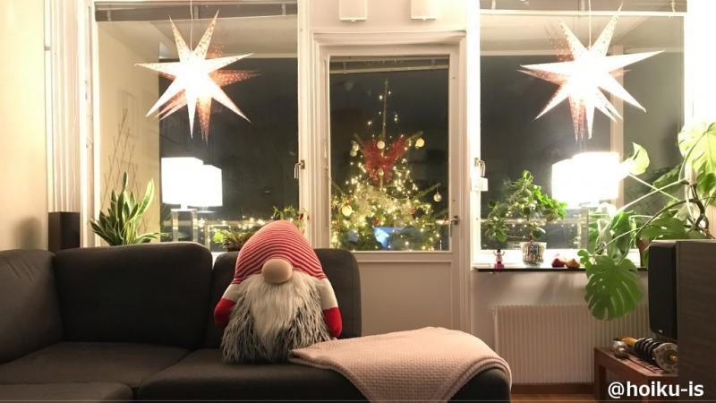 スウェーデンの家から見えるクリスマスツリー