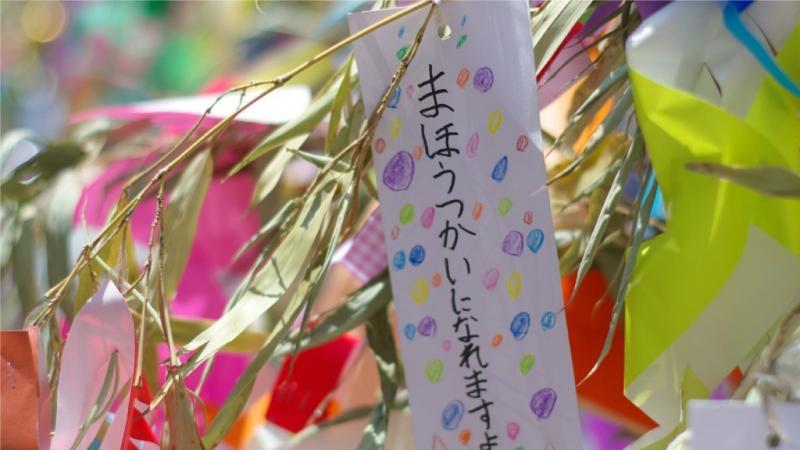 笹に飾った短冊