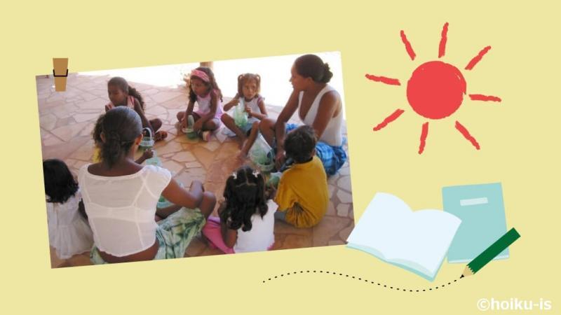 勉強をするカノア保育園の子どもたち
