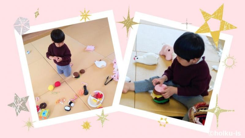 布おもちゃで遊ぶ男の子