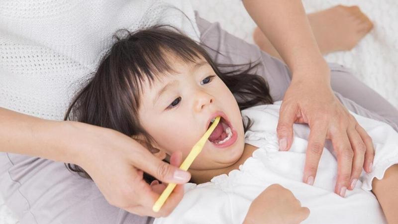 大人に歯を磨いてもらっている子ども