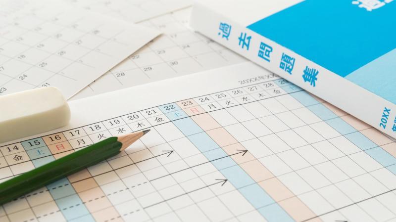 過去問題集とカレンダーと筆記用具